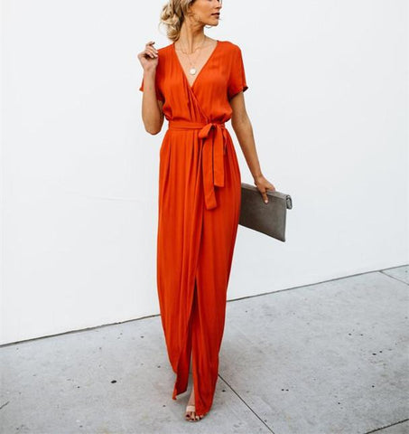 Sexy V-Collar Pure Color Band Open Slit Maxi Dress red l