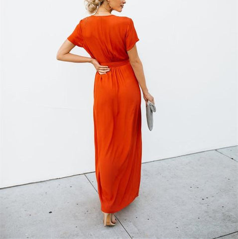 Sexy V-Collar Pure Color Band Open Slit Maxi Dress red xl