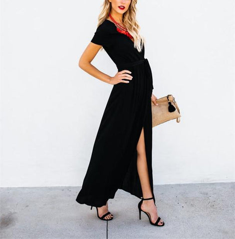 Sexy V-Collar Pure Color Band Open Slit Maxi Dress black l