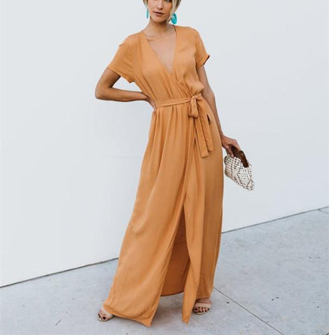 Sexy V-Collar Pure Color Band Open Slit Maxi Dress yellow m