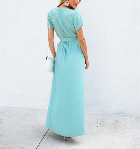 Sexy V-Collar Pure Color Band Open Slit Maxi Dress sky_blue xl