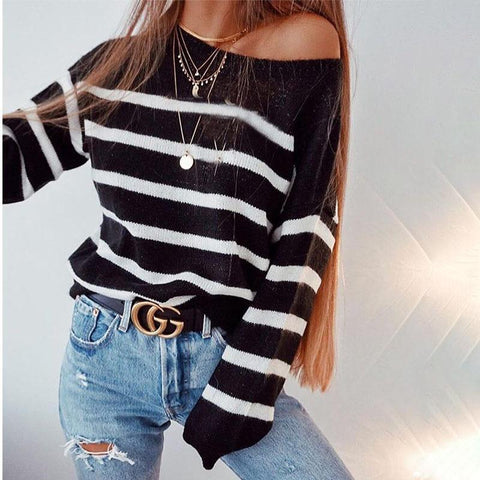Image of Round Neck Stripes Long Sleeve Knitting Sweaters black l
