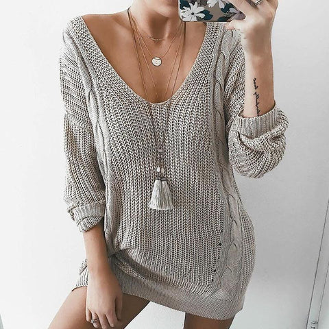 Image of Sexy Deep V Neck Long Sleeve Knitting Sweaters gray l