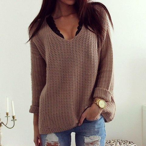 Image of Retro Casual Popular Hollow V Neck Loose Long-Sleeved Sweater same_as_photo l