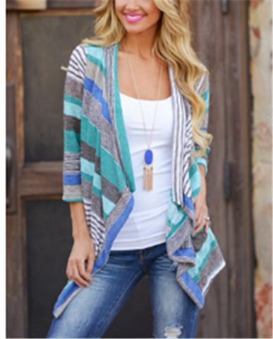 Image of Striped Splice Seven-Part Shirt Jacket blue m