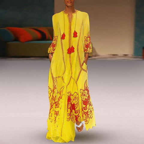 Chinese-Style Printed Cotton And Linen Casual Dress yellow l