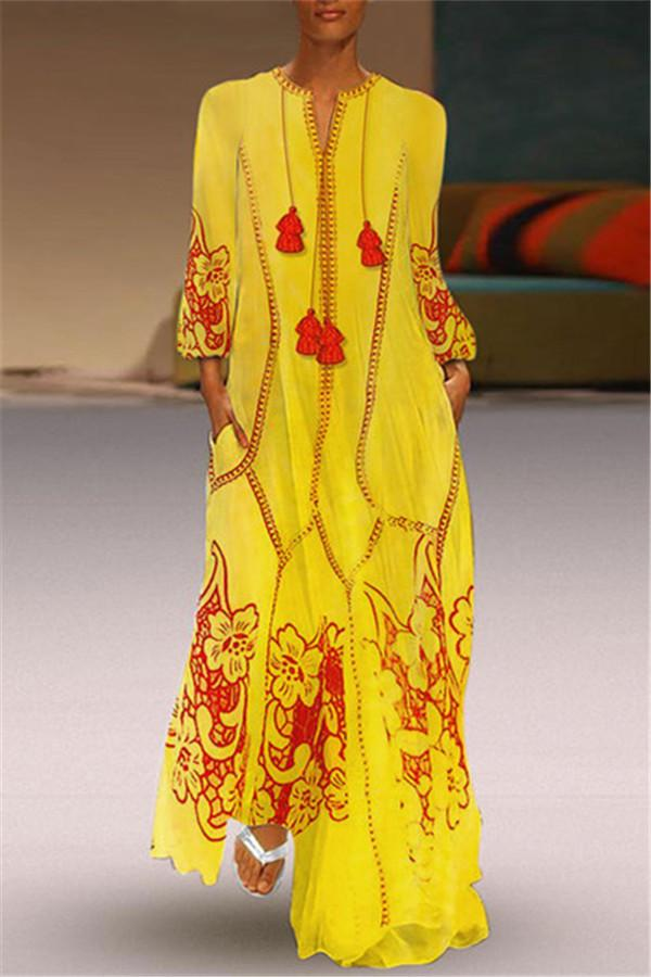 Chinese-Style Printed Cotton And Linen Casual Dress yellow s