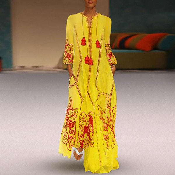 Chinese-Style Printed Cotton And Linen Casual Dress yellow m