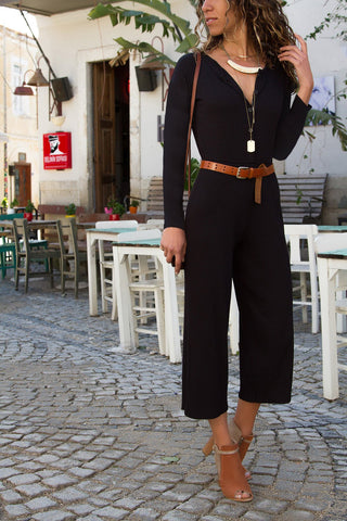 Image of Pure Color Leisure Pit Long Sleeve Jumpsuits black m