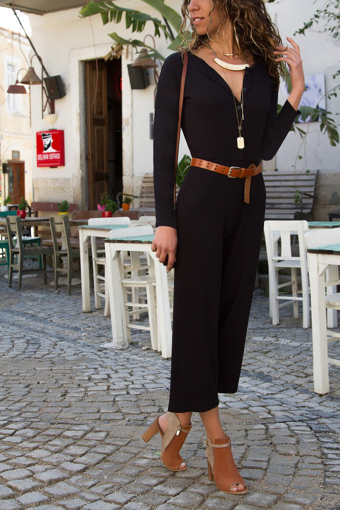 Pure Color Leisure Pit Long Sleeve Jumpsuits black s