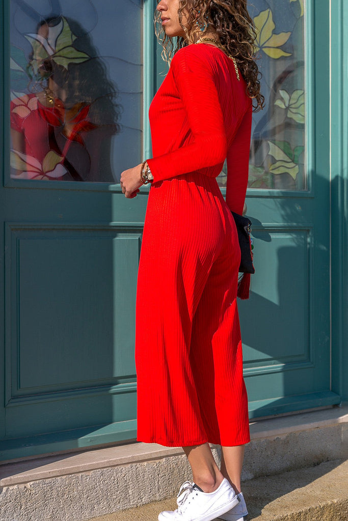 Pure Color Leisure Pit Long Sleeve Jumpsuits red s