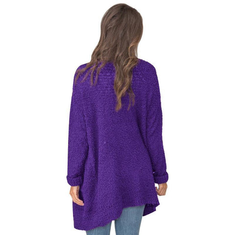 Image of Long Sleeve Plain Pocket Casual Cardigans purple xl