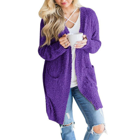 Image of Long Sleeve Plain Pocket Casual Cardigans purple l