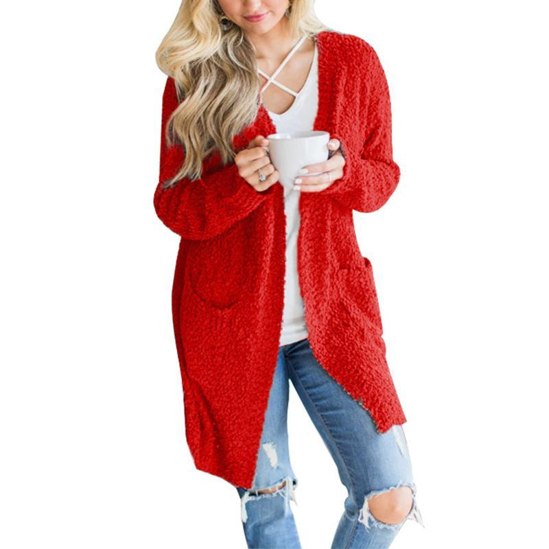 Long Sleeve Plain Pocket Casual Cardigans red l