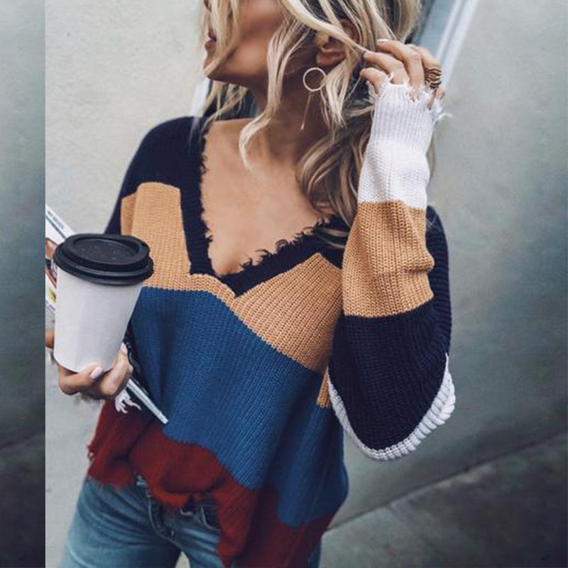 V Neck Color Block Long Sleeve Stripes Sweaters Same As Photo m