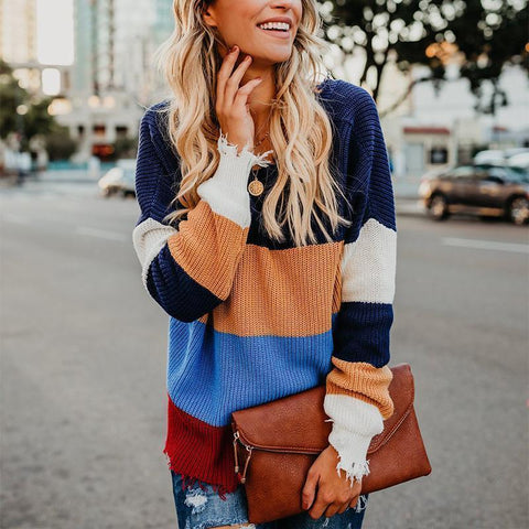 Image of V Neck Color Block Long Sleeve Stripes Sweaters Same As Photo l