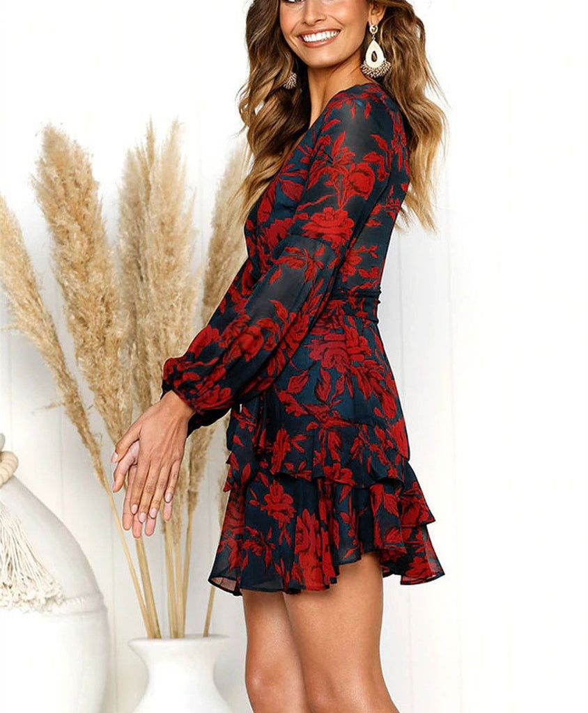 Sexy V-Collar Print Lace Band Long-Sleeved Mini Dress same_as_photo l