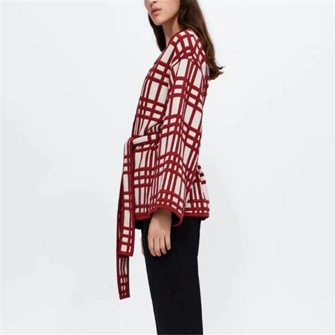 Image of Chic Casual Loose Plaid Lace-Up Waistband Long Sleeve Cardigan same_as_photo m