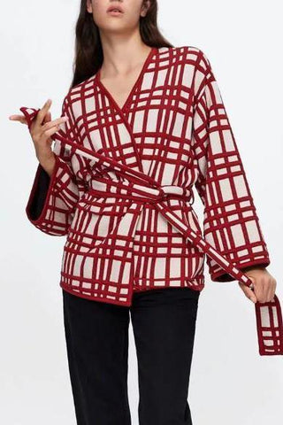 Image of Chic Casual Loose Plaid Lace-Up Waistband Long Sleeve Cardigan same_as_photo s