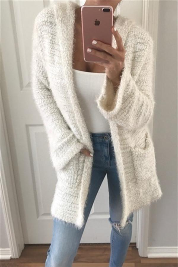 A Long Sweater Jacket With Long Sugar Sleeves beige s