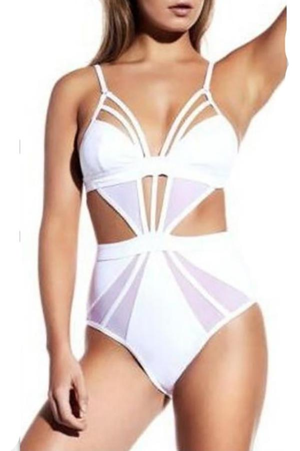 Sexy bikini solid color split swimsuit White s