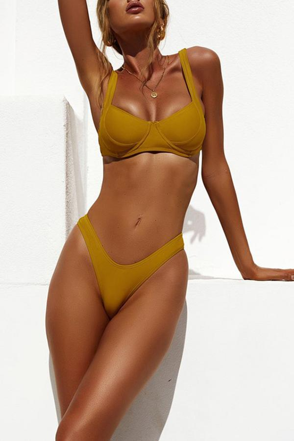 Sexy Bikini Solid Color Split Swimsuit Yellow s