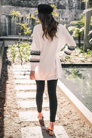 Image of Fashion Splicing Long-Sleeved Women's Long Cardigan Sweater white l