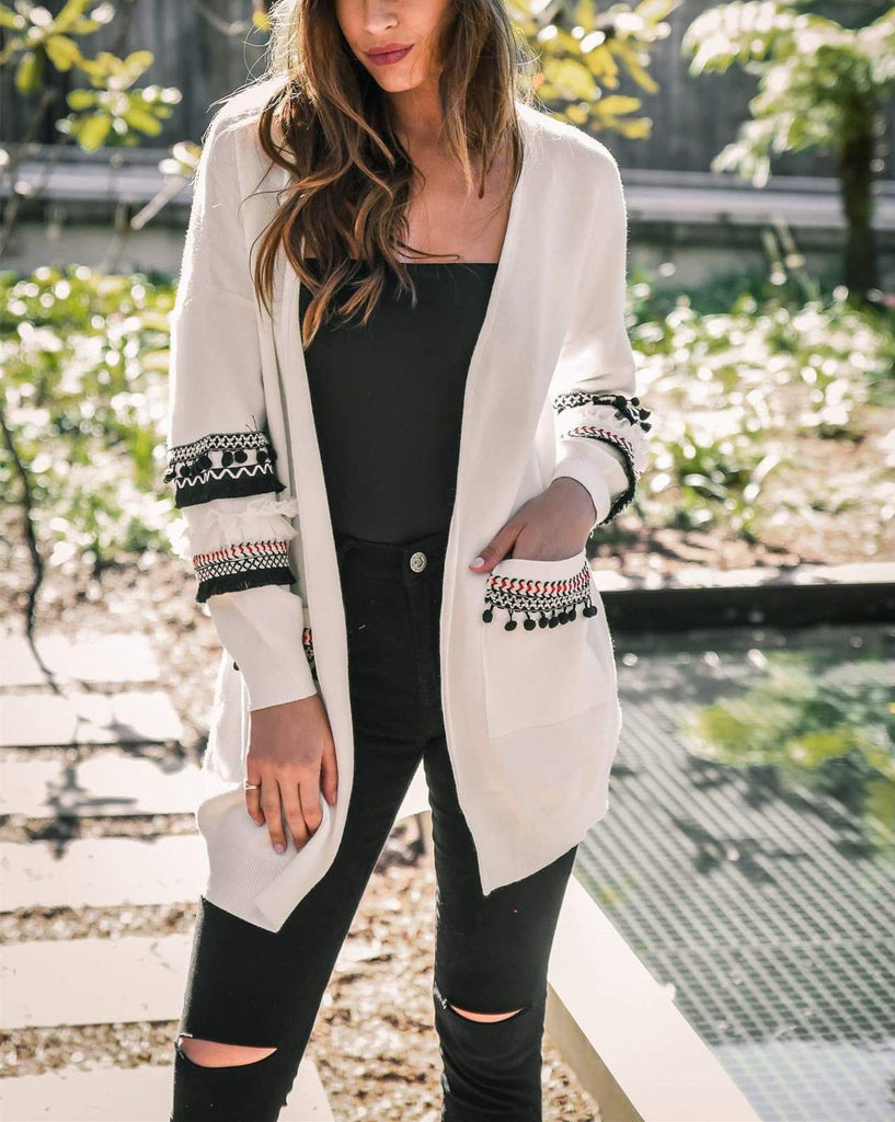 Fashion Splicing Long-Sleeved Women's Long Cardigan Sweater white m