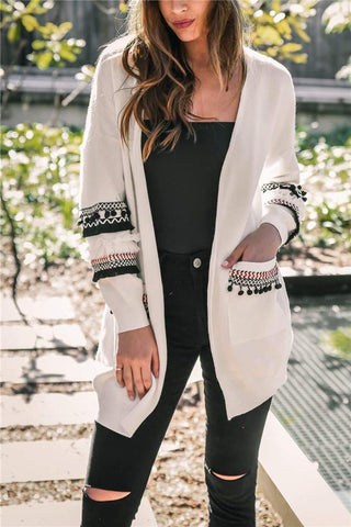 Image of Fashion Splicing Long-Sleeved Women's Long Cardigan Sweater white s
