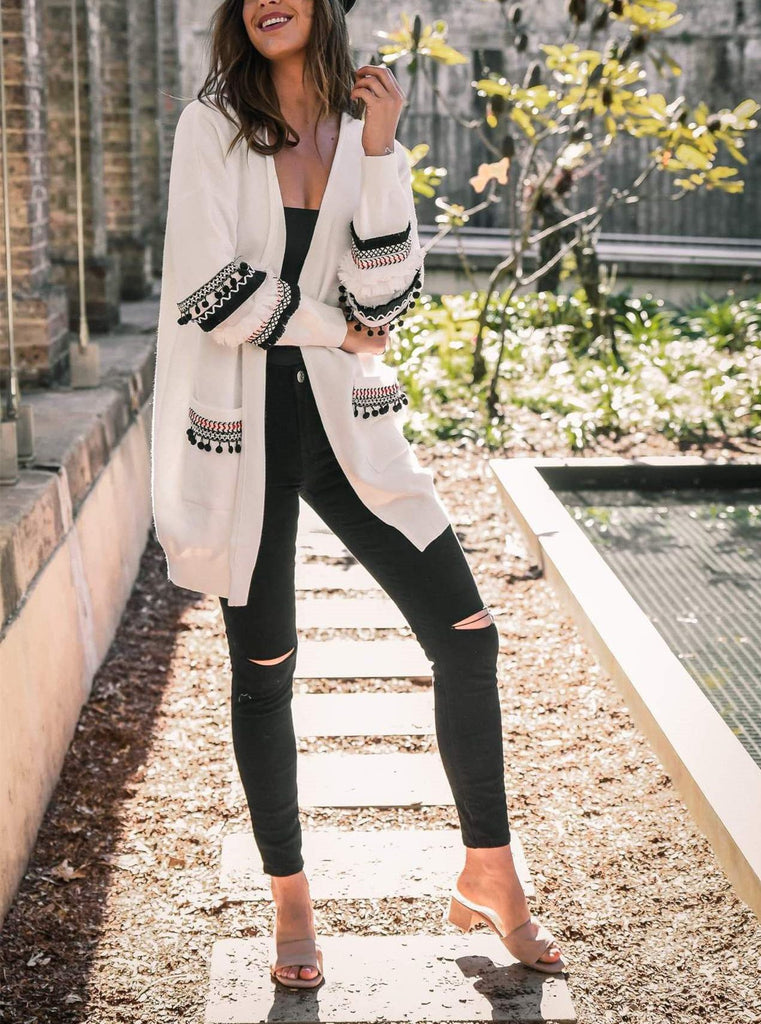 Fashion Splicing Long-Sleeved Women's Long Cardigan Sweater white xl