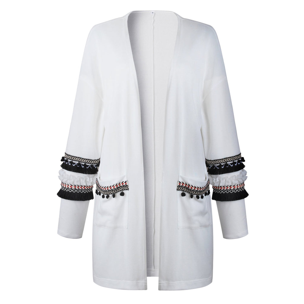 Fashion Splicing Long-Sleeved Women's Long Cardigan Sweater gray l