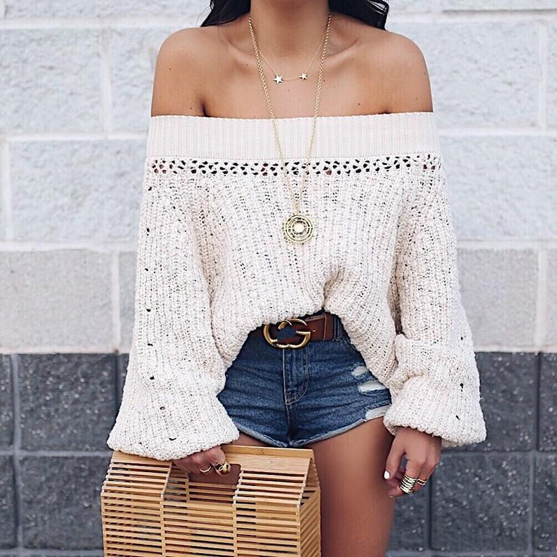 Sexy Shoulder Lantern Long Sleeve Loose Knitted Sweaters apricot m
