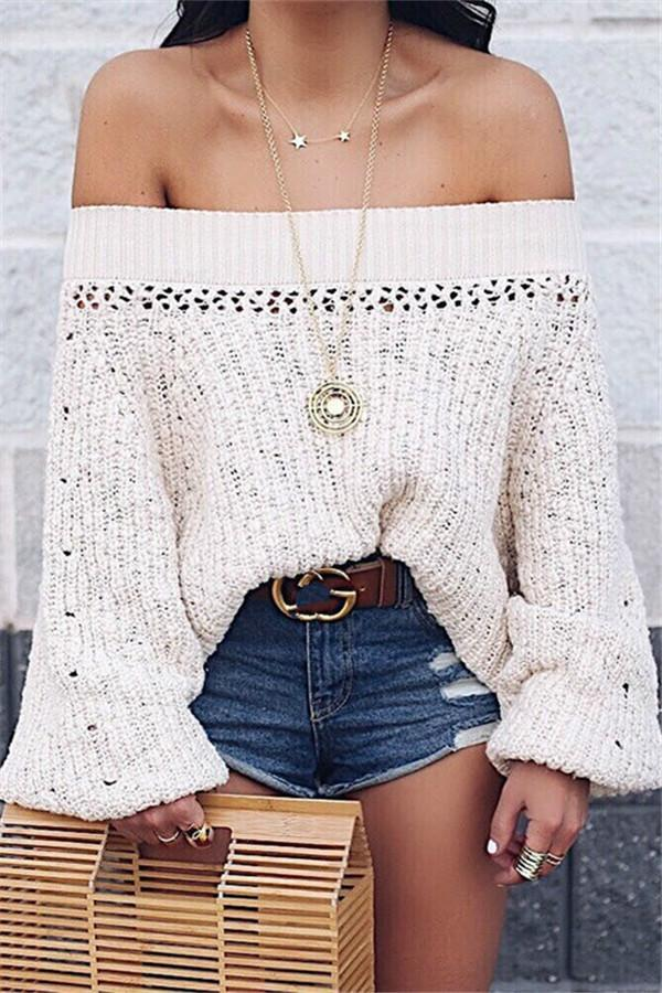 Sexy Shoulder Lantern Long Sleeve Loose Knitted Sweaters apricot s