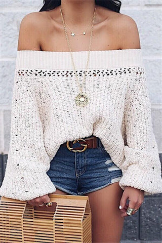 Image of Sexy Shoulder Lantern Long Sleeve Loose Knitted Sweaters apricot s