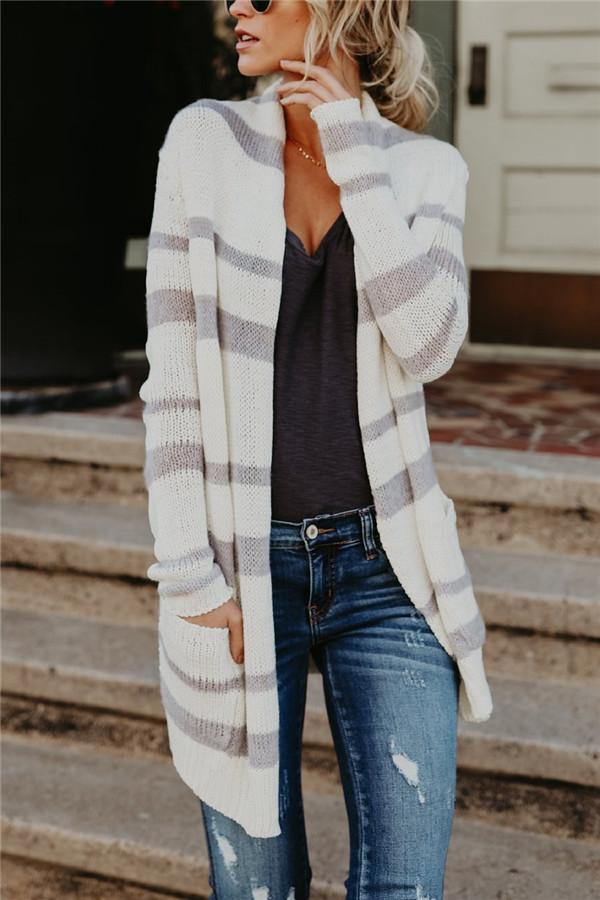 Fashion Striped Long Knitted Cardigan white s