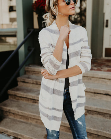 Image of Fashion Striped Long Knitted Cardigan white xl