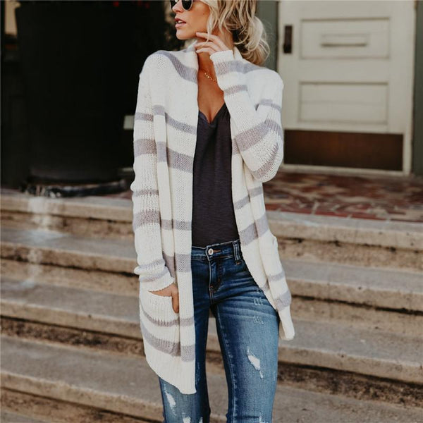 Fashion Striped Long Knitted Cardigan white m