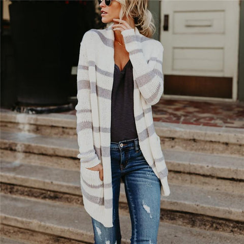 Image of Fashion Striped Long Knitted Cardigan white m