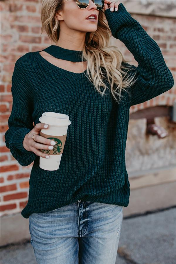 Green Long-Sleeved Knitted Sweater green s