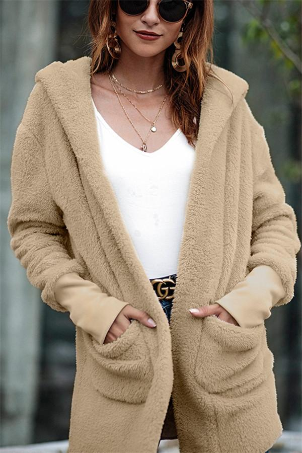 Solid Color Fluffy Thick Coat khaki s