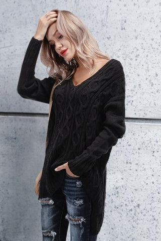 Image of Chic Casual Loose Plain V Collar Long Sleeve Thermal Sweaters black s