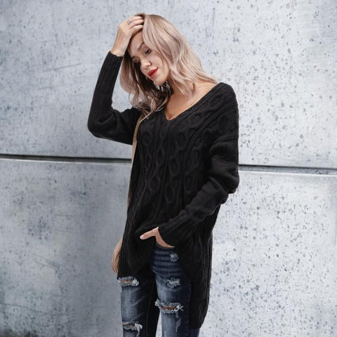 Image of Chic Casual Loose Plain V Collar Long Sleeve Thermal Sweaters black l