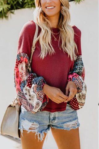 Image of Round  Neck  Print  Sweaters Claret Red xl