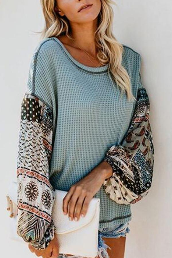 Round  Neck  Print  Sweaters Green s