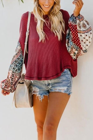 Image of Round  Neck  Print  Sweaters
