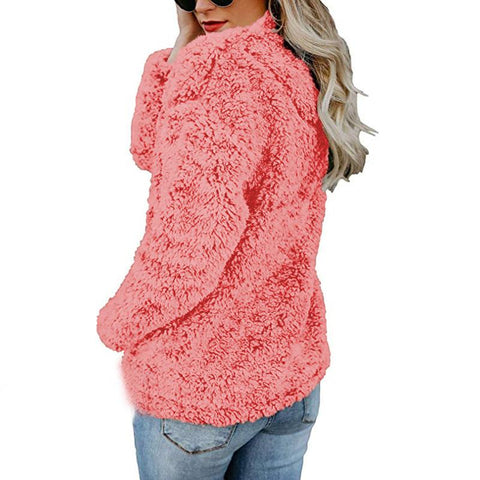 Image of A Stylish High-Collar Long-Sleeved Zipper Sweaters red m