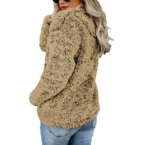 Image of A Stylish High-Collar Long-Sleeved Zipper Sweaters brown xl