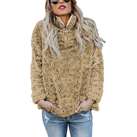 Image of A Stylish High-Collar Long-Sleeved Zipper Sweaters brown l