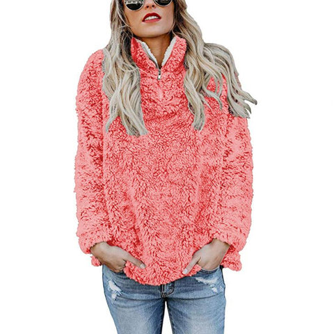 Image of A Stylish High-Collar Long-Sleeved Zipper Sweaters red l