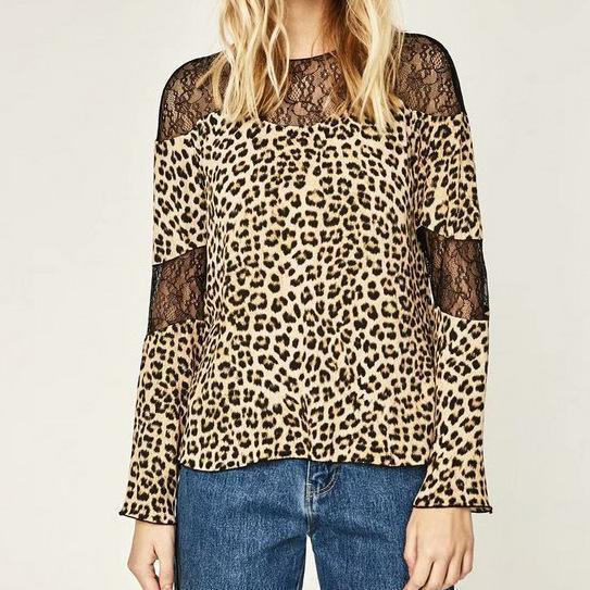 Sexy Chic Loose Leopard Print Lace Round Neck Long Sleeve Blouse leopard_print m